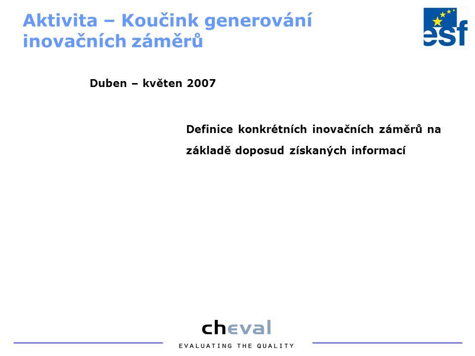 """Poskytnutí specifických znalostí pro zavádění inovací Marketing inovativních produktů Outsourcing Finanční řízení Řízení rizik Řízení změn Aktivita – Školení """"Marketing, finanční řízení, řízení rizik koučovaných firem a výzkumníků Červen 2007"""