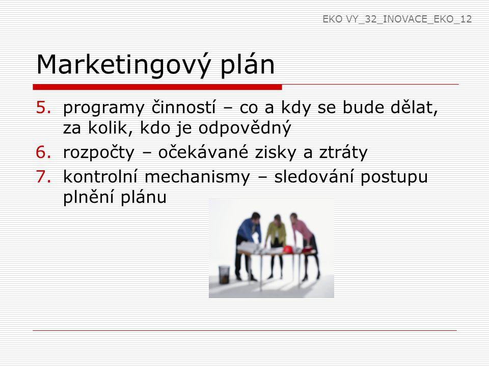 Opakování Co je marketingové řízení.Co je marketingový plán.