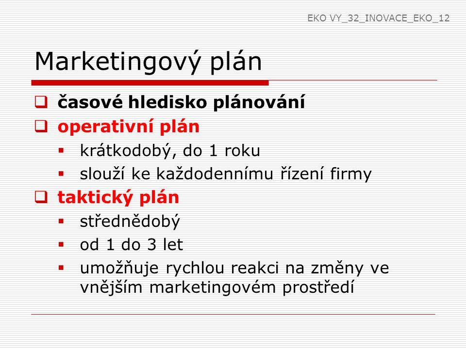 Marketingový plán  strategický plán  dlouhodobý  nad 3 roky  vychází z poslání a vize firmy  dává firmě náhled na její budoucí postavení v závislosti na vývoji na trhu EKO VY_32_INOVACE_EKO_12
