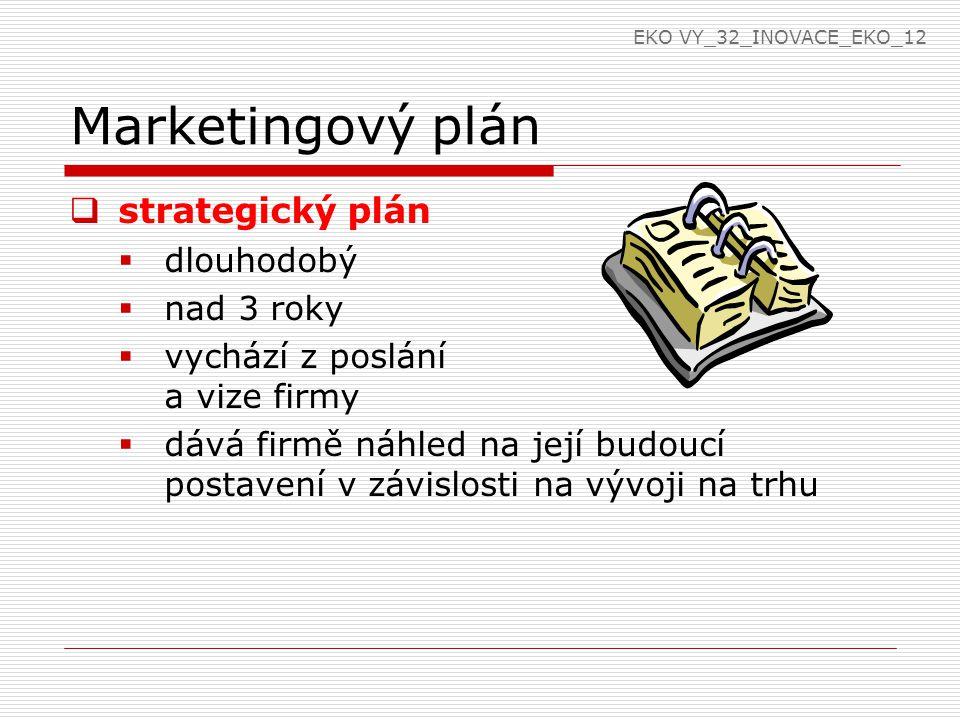 Marketingový plán  marketingový plán stanovuje:  kde se firma nachází  kam směřuje  jak může dosáhnout stanoveného cíle  vypracovává se pro trhy, výrobky, značky EKO VY_32_INOVACE_EKO_12