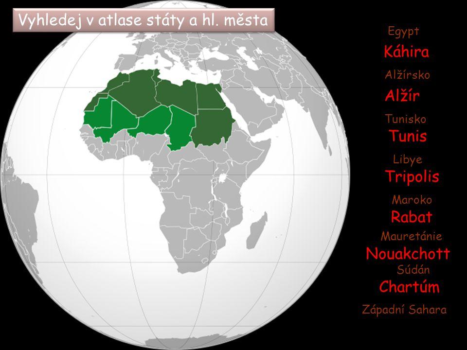 Přírodní podmínky Přírodní podmínky  pohoří Atlas  Sahara (ergy, hamady, seriry)  šotty a vádí  nejdůležitější řekou NIL