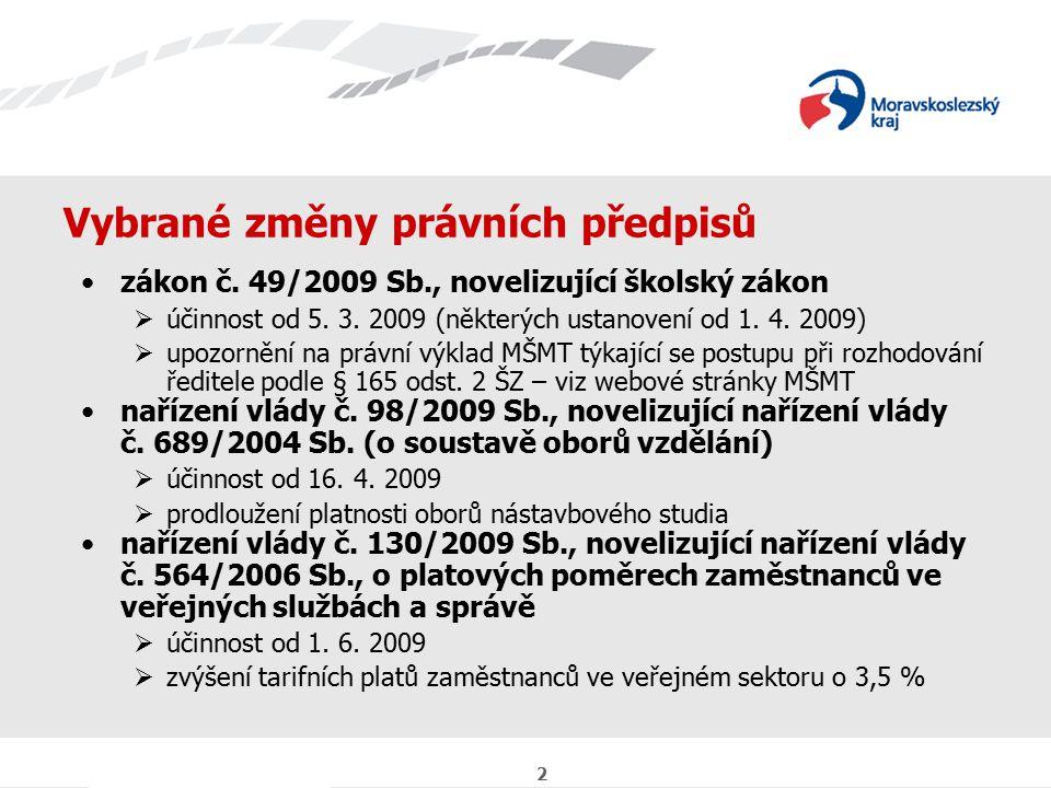 3 Vybrané změny právních předpisů Soubor pedagogicko-organizačních informací na školní rok 2009/2010 schváleny byly nové Zásady vztahů orgánů kraje k příspěvkovým organizacím (účinnost od 27.
