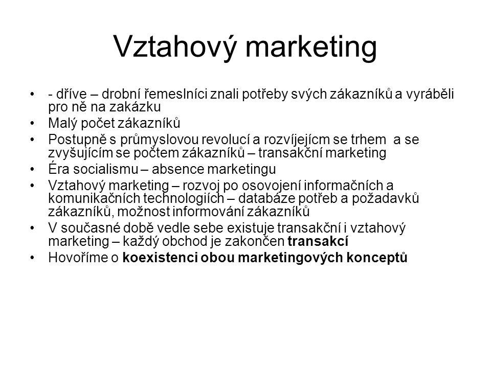 Základní rozdíly mezi transakčním a vztahovým marketingem Transakční marketingVztahový marketing Zaměřen na jediný nákup (jednorázové uspokojení spotřebitele) Zaměřen na opakované nákupy Přímý styk mezi zákazníkem a dodavatelem produktu je omezený Přímý styk mezi zákazníkem a dodavatelem produktu je častý Středem zájmu jsou výhody produktu Středem zájmu je hodnota z hlediska zákazníka Služby zákazníkům jsou na omezené úrovni Služby zákazníkům jsou na vysoké úrovni Cílem je jednorázové uspokojení zákazníka Cílem je splněné očekávaní a dlouhodobá spokojenost zákazníka Za jakost produktu je odpovědna pouze výroba komunikaci Za jakost produktu i komunikaci se zákazníkem je odpovědna celá firma