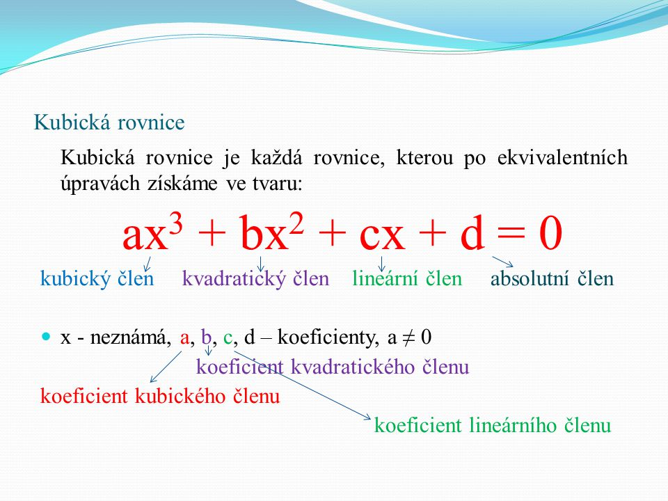 Kubická rovnice Každá kubická rovnice s reálnými koeficienty má alespoň jeden reálný kořen.