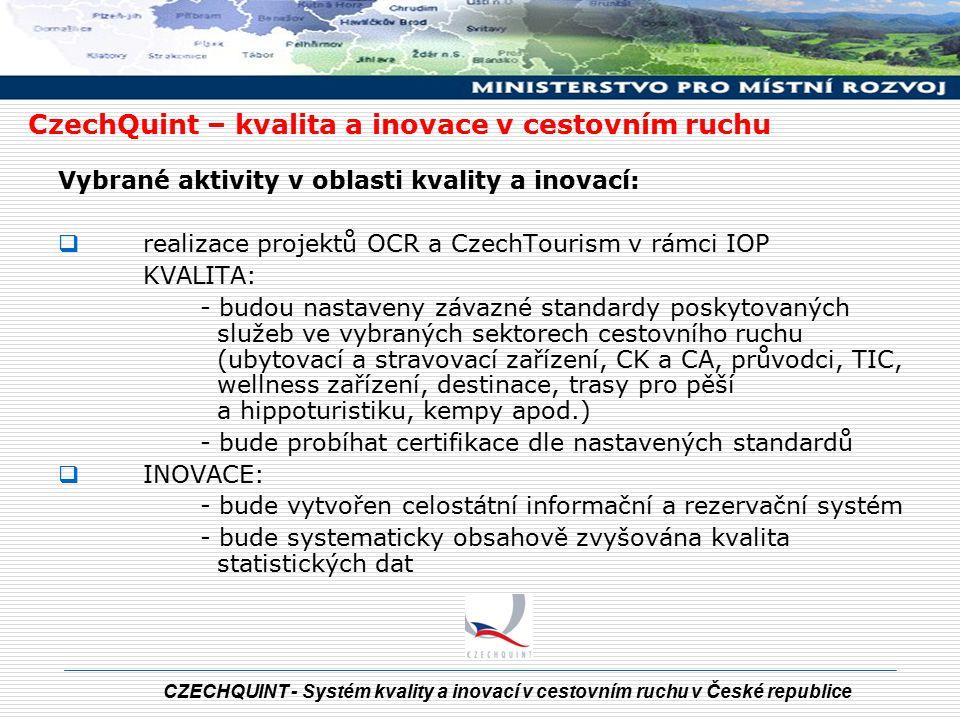 CZECHQUINT - Systém kvality a inovací v cestovním ruchu v České republice Důvody pro zavedení standardů kvality služeb  zvýšení konkurenceschopnosti a efektivní rozvoj cestovního ruchu  integrace do již existujících evropských systémů  systematické zvyšování kvality služeb  zajištění rovných kritérií hodnocení poskytovaných služeb  vytvoření rovných podmínek na trhu  vyšší důvěra zákazníků, vyvolání zájmu o kvalitní služby u koncových uživatelů  záruka kvality poskytovaných služeb  snazší orientace koncových uživatelů při výběru služeb CR  zvyšování motivace personálu ve službách CR  možnost získávání zpětné vazby, např.
