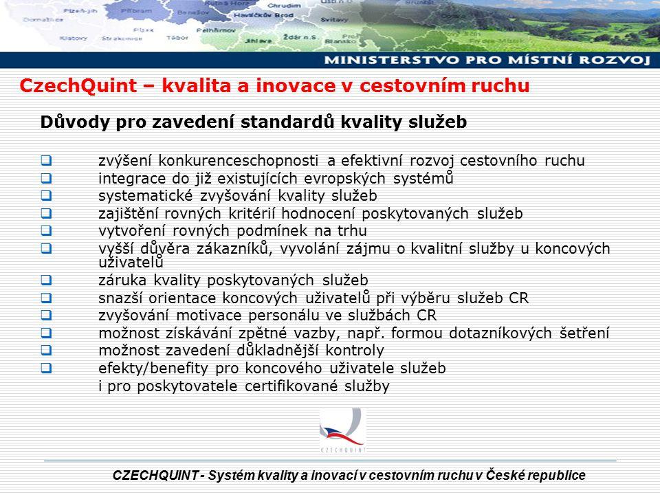 CZECHQUINT - Systém kvality a inovací v cestovním ruchu v České republice CzechQuint – kvalita a inovace v cestovním ruchu Znázornění provázanosti projektů