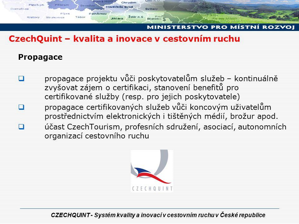 CZECHQUINT - Systém kvality a inovací v cestovním ruchu v České republice LOGO CZECHQUINT = ZÁRUKA KVALITY CzechQuint – kvalita a inovace v cestovním ruchu