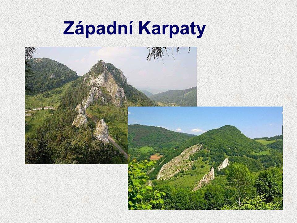 na území ČR zasahují jen malou částí (zbytek na Slovensku) usazené horniny třetihory příkrovová stavba
