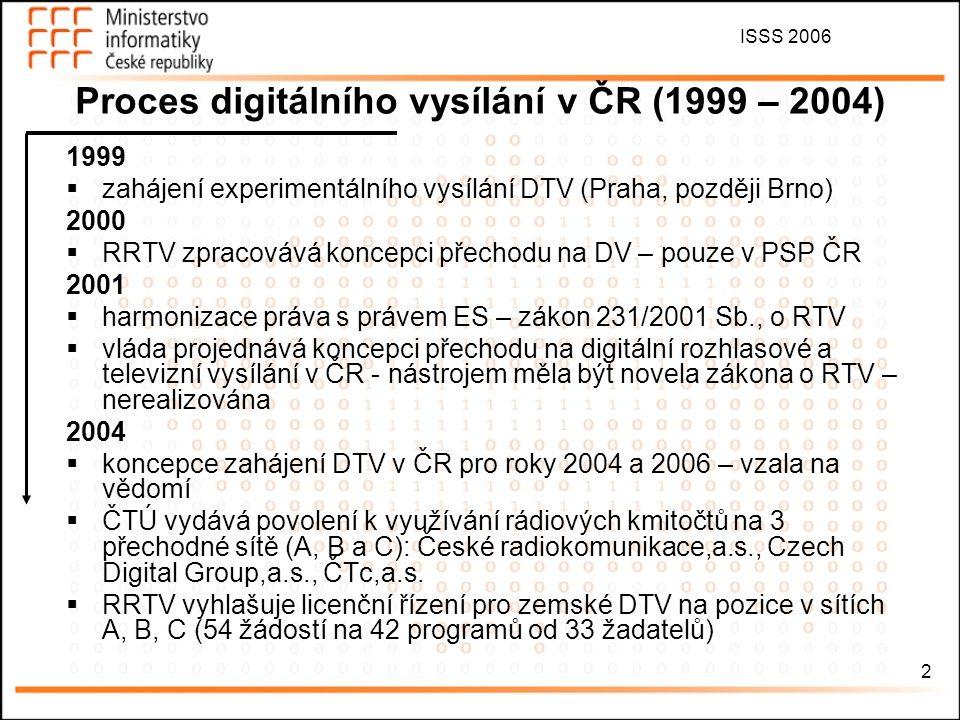 ISSS 2006 3 Proces digitálního vysílání v ČR (2005 – 2006) 2005  zákon 127/2005 Sb., ZEK – implementace regulačního rámce EU – oddělení regulace přenosu od regulace obsahu, veřejnoprávní multiplex  RRTV doplňuje licence stávajícím provozovatelům o možnost vysílat digitálně v Praze, Brně a Ostravě  ČTÚ vyhrazuje kmitočty umožňující DV v rozsahu stanoveném v zákoně o ČT  21.