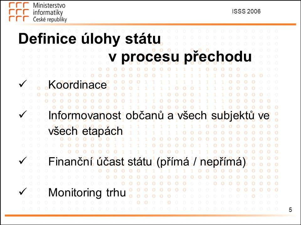 ISSS 2006 6 Institucionální zabezpečení Kompetence MI, ČTÚ, MK a RRTV Národní koordinační skupina (NKS), národní koordinátor pracovní skupiny v čele se zástupci státních orgánů, do jejichž kompetence bude uvedená oblast spadat