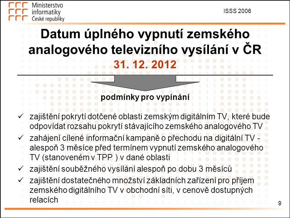 ISSS 2006 10 TPP Technický plán přechodu zemského analogového televizního vysílání na zemské digitální televizního vysílání v novele zákona 231/2001 Sb., RTV – jako OOP základní nástroj pro umožnění efektivního a transparentního přechodu na zemské digitální TV a definitivní vypnutí zemského analogového TV postupné vypínání – v návaznosti na výstavbu nových sítí DTV 5 sítí (minimálně jedna regionálního charakteru) + veřejnoprávní multiplex 1.