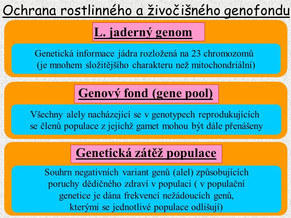 Ochrana rostlinného a živočišného genofondu Geny prokaryontního jádra Geny plazmidů Geny buněčného jádra Geny mitochondrií Geny buněčného jádra Geny plastidů Genom prokaryont (nucleoid) Genom eukaryont (zoogenom) Genom eukaryont (fytogenom) ČLENĚNÍ GENOMU