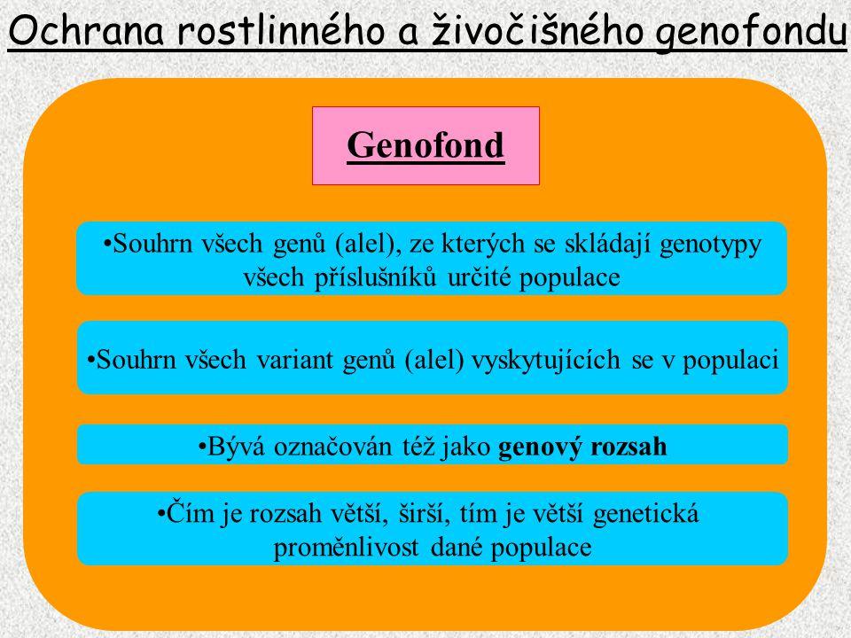 Ochrana rostlinného a živočišného genofondu Snižování počtu jedinců v populaci zužuje rozsah genofondu Genofond Šíře genofondu není stabilní veličinou, v průběhu evoluce se mění Faktorem ovlivňující šíři genofondu jsou: 1.