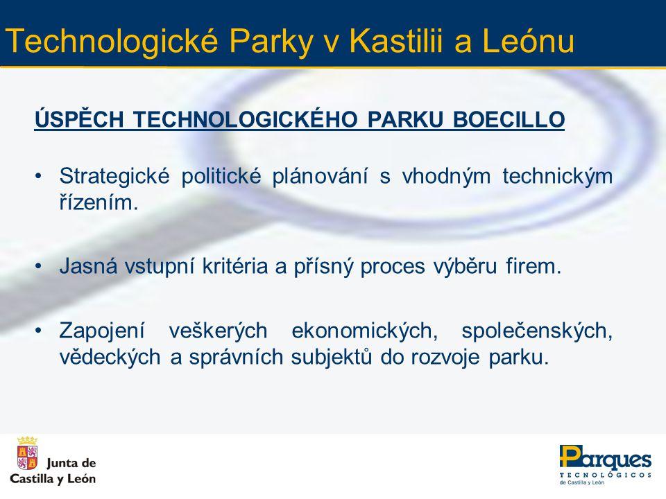 Technologické Parky v Kastilii a Leónu ÚSPĚCH TECHNOLOGICKÉHO PARKU BOECILLO Neustálá spolupráce mezi místní správou, firmami, univerzitami a technologickým parkem.
