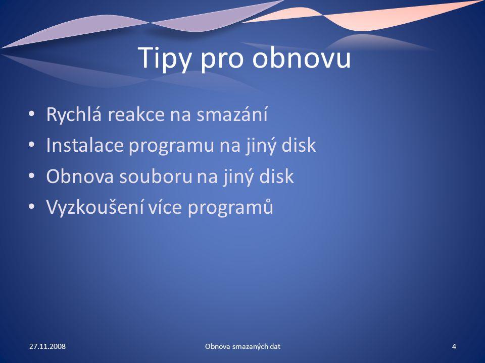 Program Recover Files Freeware Podporuje systémy FAT16, FAT32, NTFS, NTFS 5 Jednoduché ovládání Vysoká přehlednost 27.11.20085Obnova smazaných dat