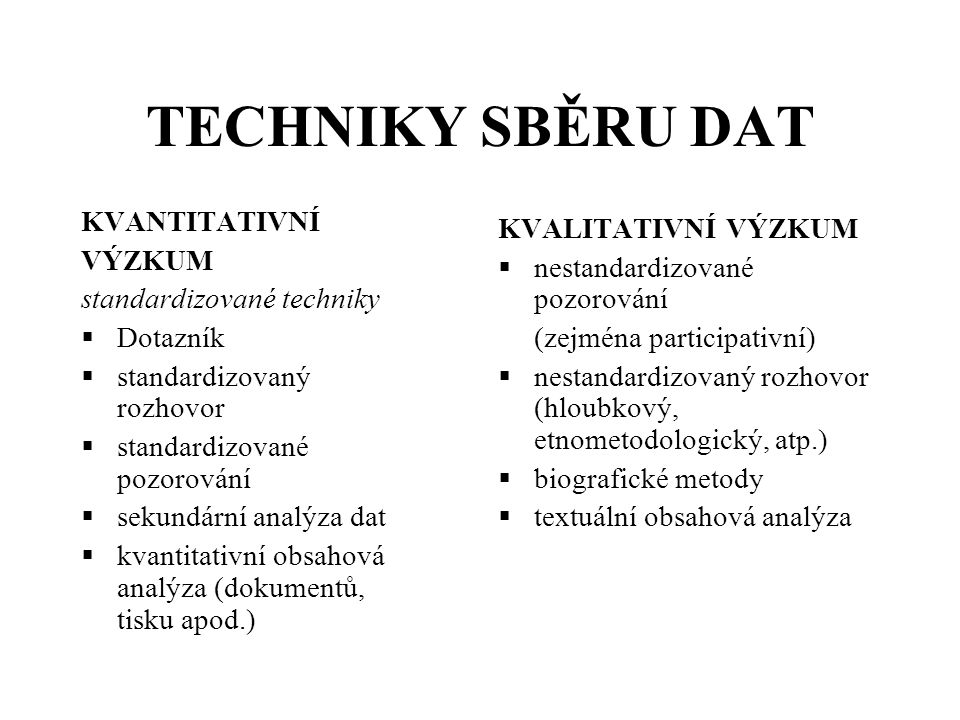 Zamlčené předpoklady kvantitativního šetření Zdroj: Petrusek, M., Teorie a metoda v moderní sociologii.