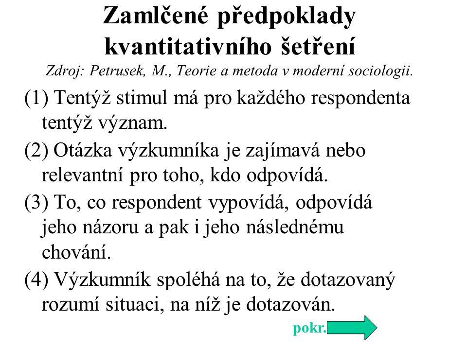 (5) Předpoklad, že verbální vyjádření respondenta lze přepsat do podoby jiného znaku bez ztráty informace.