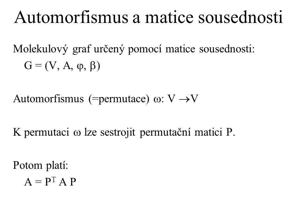 Automorfismus - grupa Množina všech automorfismů: Aut = {  1,  2, …},kde  : V  V Operace skládání zobrazení: o: ( ,  )   Grupa automorfismů: G aut = (Aut, o) Grupa automorfismů může být izomorfní s nějakou bodovou grupou prostorové symetrie.