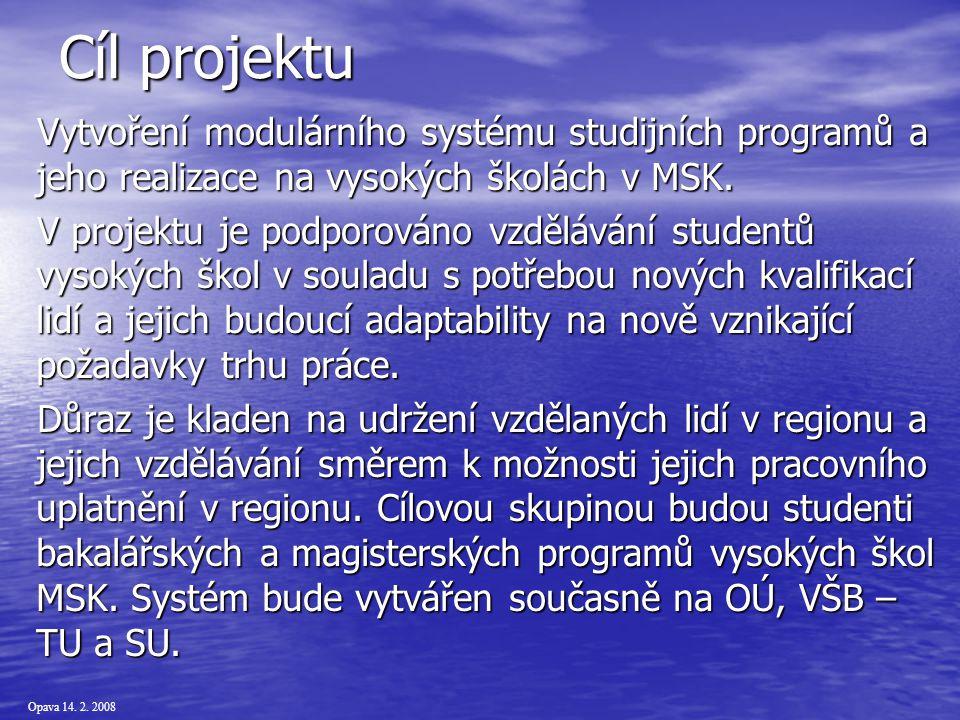 Opava 14.2. 2008 Reálizátoři Ostravská univerzita v Ostravě – žadatel (prof.
