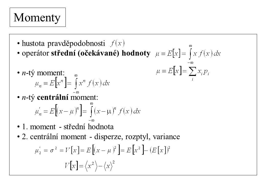 Momenty 3.centrální moment - asymetrie, šikmost (skewness) 4.
