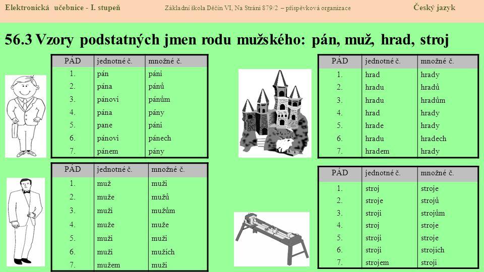 56.4 Přehled vzorů podstatných jmen – rod ženský: Elektronická učebnice - I.