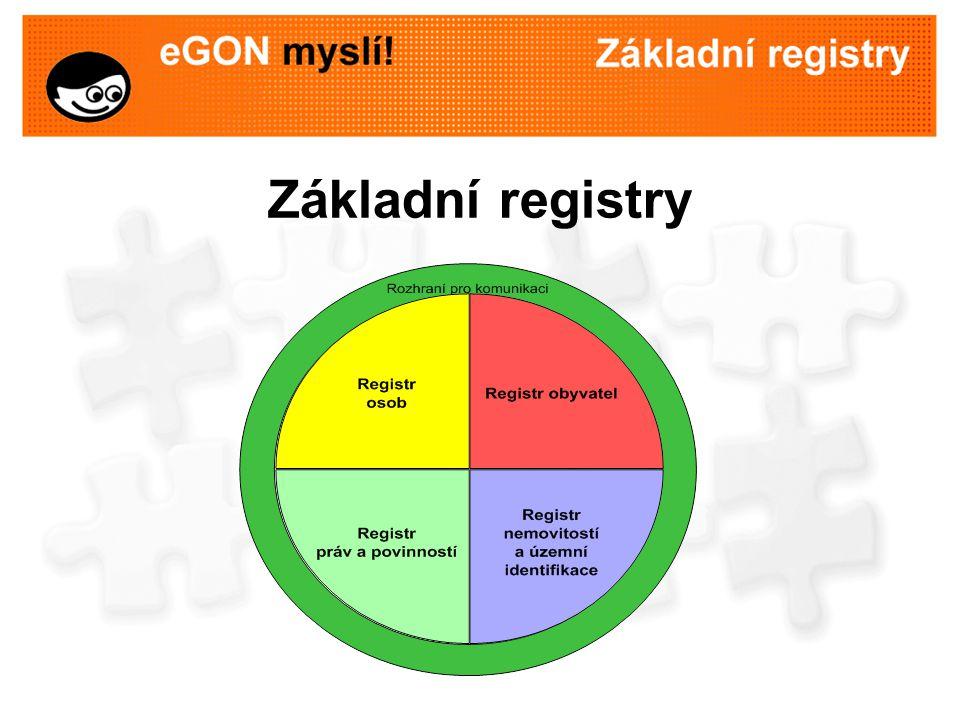 Účel základních registrů Zajistit spolehlivý zdroj nejčastěji využívaných údajů ve veřejné správě umožnit efektivní využívání údajů, které již má veřejná správa k dispozici omezit nutnost žádat občany požadováním opakovaného dokládání údajů zrychlit administrativní procesy  ušetřit čas a výdaje