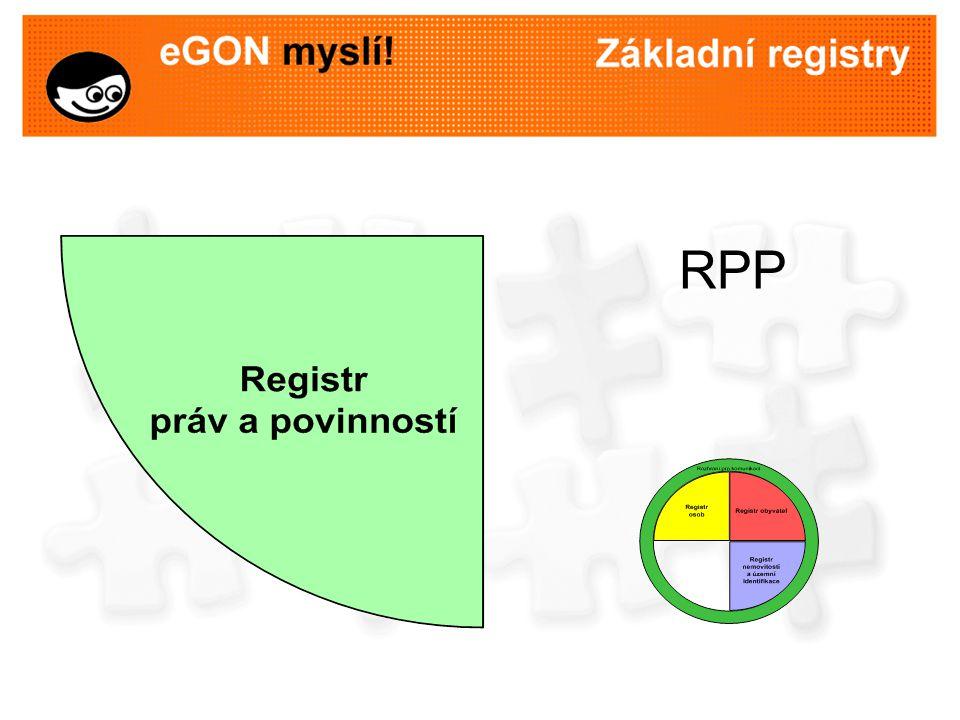 Registr práv a povinností (RPP) referenční údaje o působnosti orgánů veřejné moci –orgány veřejné moci a agendy, které vykonávají –informační systémy, které pro výkon agend používají a rozsah oprávnění přístupu k údajům referenční údaje o právech a povinnostech osob –rozhodnutí, na jejichž základě došlo ke změně údajů v základních registrech –další práva a povinnosti osob, pokud to stanoví jiný právní předpis