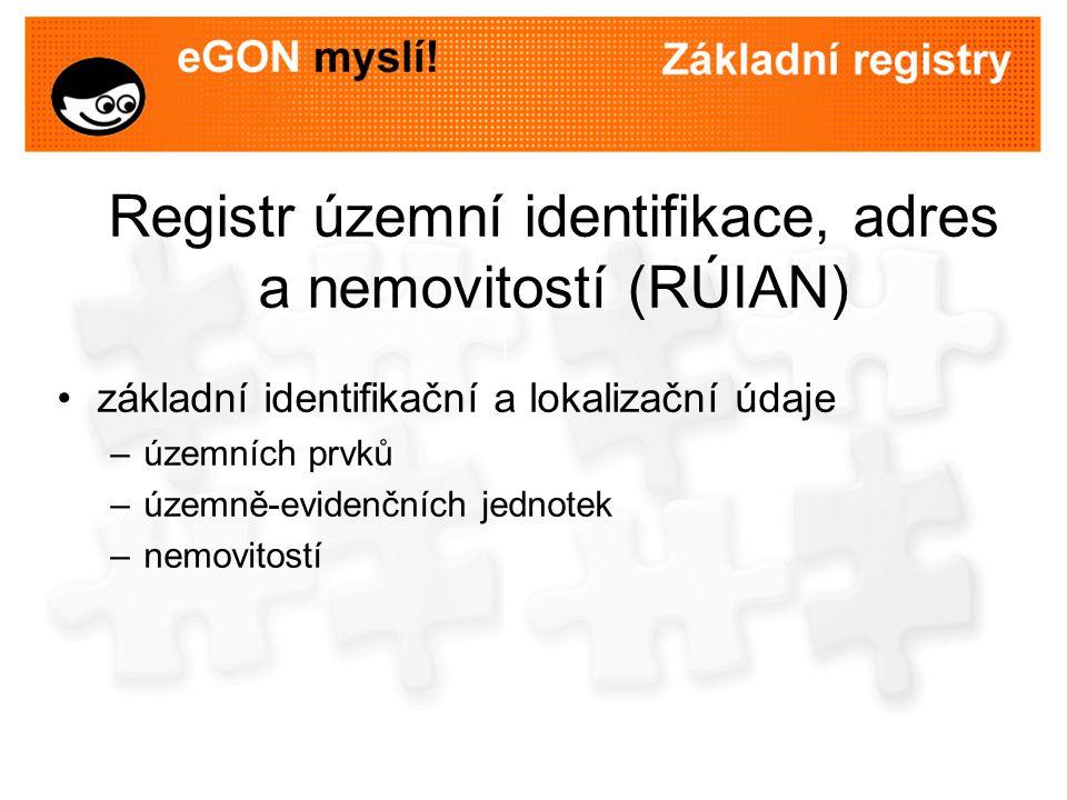Využití RÚIAN RÚIAN bude obsahovat referenční údaje v aktuální podobě historické údaje budou vedeny v nově vzniklém informačním systému územní identifikace údaje budou do RÚIAN zapisovány prostřednictvím informačního systému územní identifikace