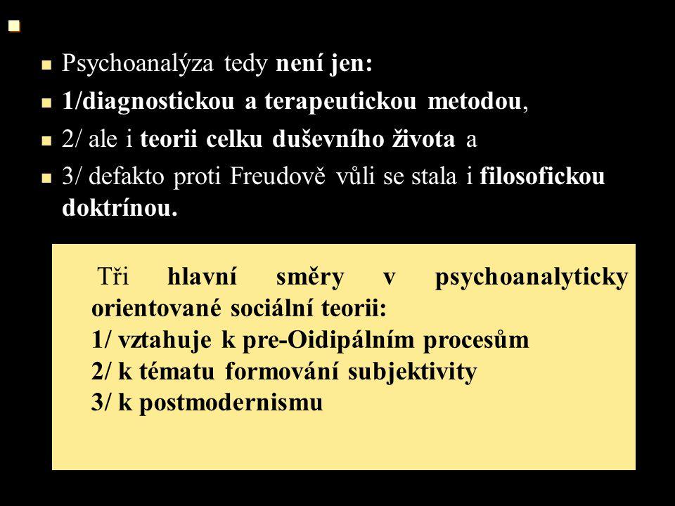 """PSYCHOANALÝZA a/ významný je už Freudův přínos k problematice davového chování (jeho polemika s Le Bonovým pojetím masy) b/ tvoří základní argumentační východiska představitelů """"kritické teorie první generace Frankfurtské školy (Adorno, Markuse, ale i Fromm) nastupující etapu pozdní modernity a její důsledky pro postmoderní psyché (Ch."""