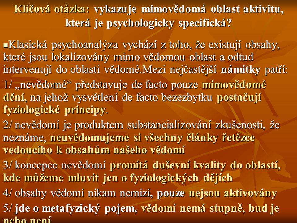 Neurorfyziologický VÝZKUM (Zajonc, LeDoux, Pribram, Gibson) ALE POTVRZUJE, ŽE Neurorfyziologický VÝZKUM (Zajonc, LeDoux, Pribram, Gibson) ALE POTVRZUJE, ŽE 1/ o fyziologických dějích můžeme hovořit při vědomé činnosti a přece ji nevysvětlují, 2/ fyziologii mozku nelze ztotožňovat s psychickými ději, 3/ pokud by měli kritici pravdu, pak by museli dokázat, že mimovědomé faktory nevykazují odlišnou aktivitu od biologických procesů a museli by být přístupné metodám vhodným pro zkoumání takových orgánů jako srdce či plíce, respektive mozek.