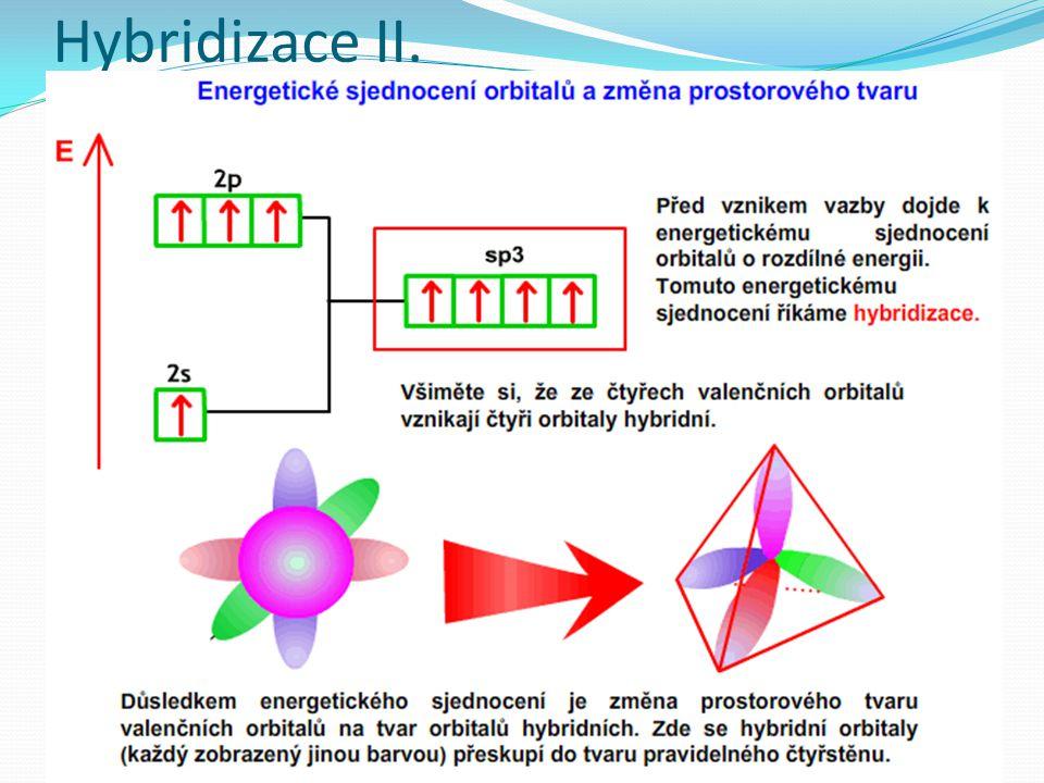 Vlastnosti hybridních orbitalů Počet hybridních orbitalů je stejný jako počet orbitalů hybridizovaných orbitalů Hybridní orbitaly jsou v prostoru orientované jinak než orbitaly původní Hybridní orbitaly jsou větší než původní orbitaly Vazby hybridních orbitalů jsou pevnější