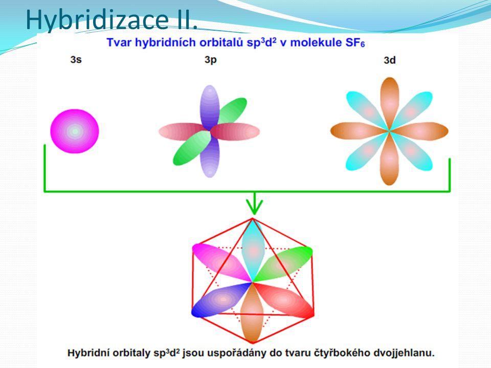 Pravidla pro hybridizaci orbitalů Při vzniku chemické vazby dochází k hybridizaci orbitalů podílejících se na sigma vazbách, ale také orbitaly, které obsahují elektronový pár a jsou ve valenční vrstvě Hybridizaci nepodléhají ty orbitaly, které vytvářejí vazbu pí