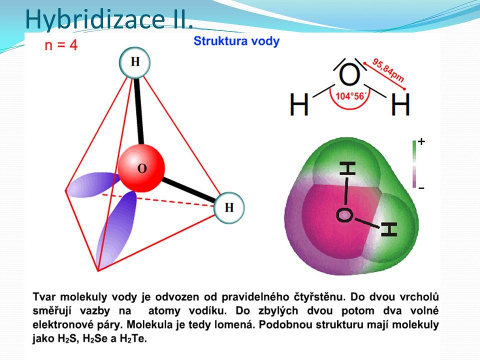 Rozdělení hybridizace Podle orbitalů Jednoduchá – hybridizují orbitaly s a p Složená - hybridizují orbitaly s,p a d Podle vázaných atomů Ekvivalentní – všichni vazební partneři jsou stejní (CH 4, AlCl 3 apod.) Neekvivalentní – po vytvoření vazeb zbývají ještě v hybridních orbitalech elektronové páry, vazební partneři nejsou stejní