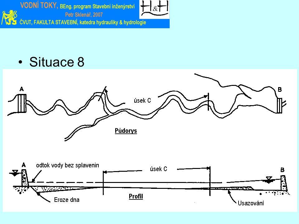 """Lokální účinkyÚčinky v horním úsekuÚčinky v dolním úseku (1) Přehrada v """"A vede k erozi Koryto může být vymíláno nebo zanášeno s korespondujícími účinky na přítoky Koryto může být vymíláno nebo zanášeno s korespondujícími účinky na přítoky (2) Přehrada v """"B vede k usazování Výsledné podmínky v úseku """"C jsou kombinací účinků (1) a (2)."""
