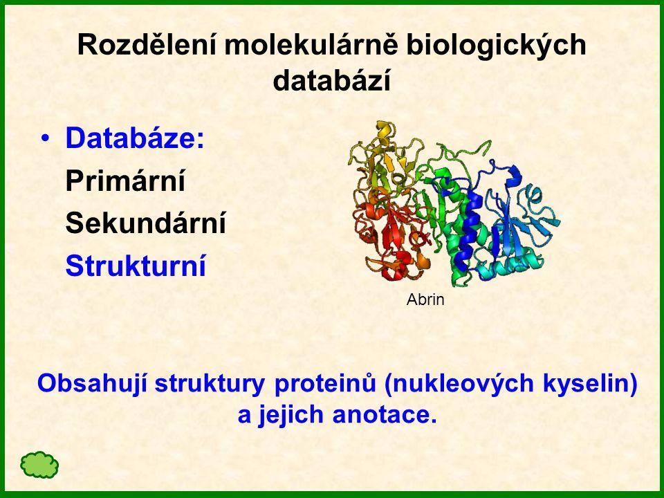 Rozdělení molekulárně biologických databází Databáze: Primární Sekundární Strukturní Genomové zdroje