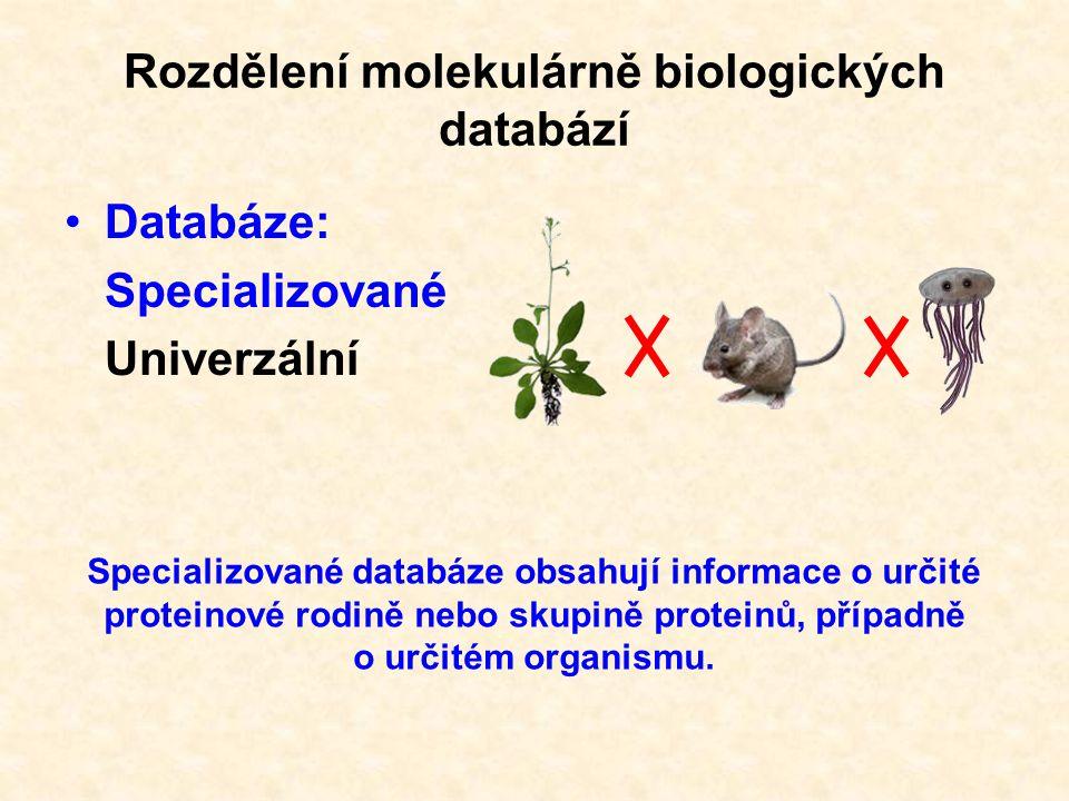 Rozdělení molekulárně biologických databází Databáze: Specializované Univerzální Univerzální databáze obsahují informace o proteinech (NA) ze všech organismů.