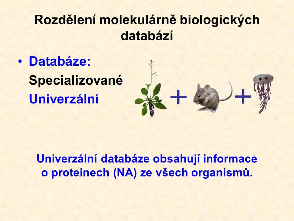 """Univerzální databáze: """"Skladiště sekvencí – sequence repository """"Manuálně spravovaná – curated database Rozdělení univerzálních proteinových databází"""