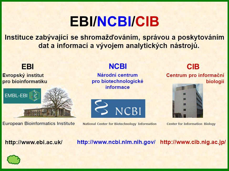 EBI – Evropský institut pro bioinformatiku Založen roku 1992 jako součást European Molecular Biology Laboratory - EMBL.