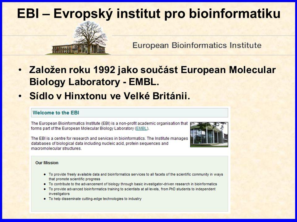 NCBI - Národní centrum pro biotechnologické informace Založeno v roce 1988 jako oddělení Národní lékařské knihovny (National Library of Medicine – NLM) v USA.