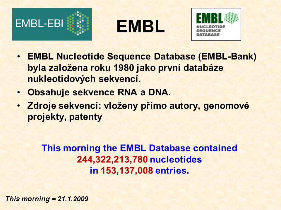 EMBL Total nucleotides (current 244,322,213,780) Number of entries (current 153,137,008)