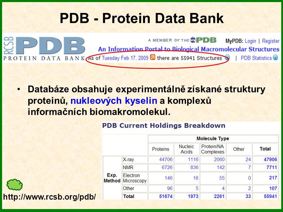 PDB formát PDB formát – původní formát databáze.