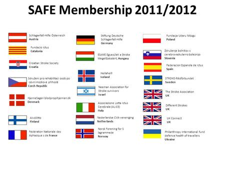 SAFE Membership 2011/2012 The Stroke Association UK Different Strokes UK Aivoliitto Finland Fundacja Udaru Mózgu Poland Philanthropy International fund.