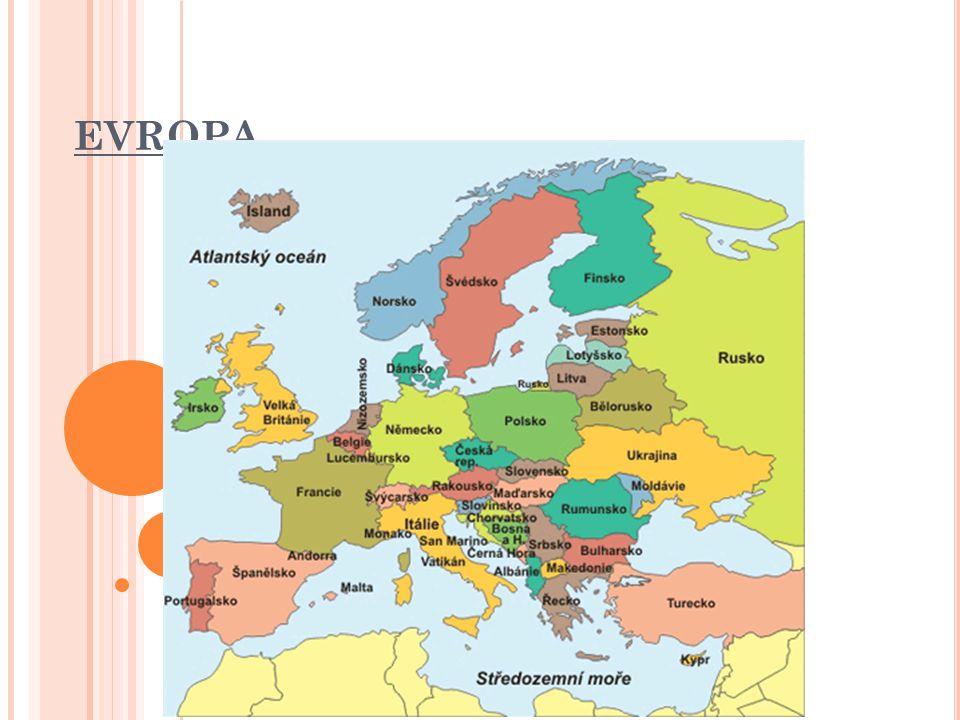 Hranice mezi Evropou a Asií – pohoří Ural, řeka Ural, Kaspické moře, Kavkaz, Černé moře, úžiny Bospor a Dardanely Severní polokoule Evropa = země, kde zapadá slunce 2.