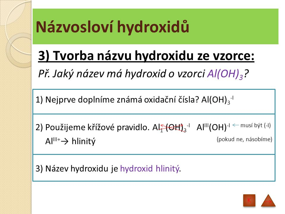 Názvosloví hydroxidů 4) Tvorba vzorce hydroxidu z názvu: Př.