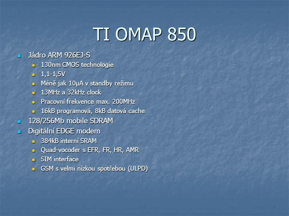 TI OMAP 850 54 Mb/s WLAN interface 54 Mb/s WLAN interface HW podpora šifrování HW podpora šifrování zabezpečený: zabezpečený: bootloader bootloader 48kB ROM 48kB ROM 16kB RAM 16kB RAM HW akcelerace šifrovacích standardů AES HW akcelerace šifrovacích standardů AES HW generátor náhodných čísel HW generátor náhodných čísel Interface pro ovládání paměti Interface pro ovládání paměti 128 MB mSDRAM 128 MB mSDRAM 256 MB Flash 256 MB Flash SD/MMC podpora SD/MMC podpora I 2 C master/slave I 2 C master/slave Pouzdro 12x12mm Pouzdro 12x12mm