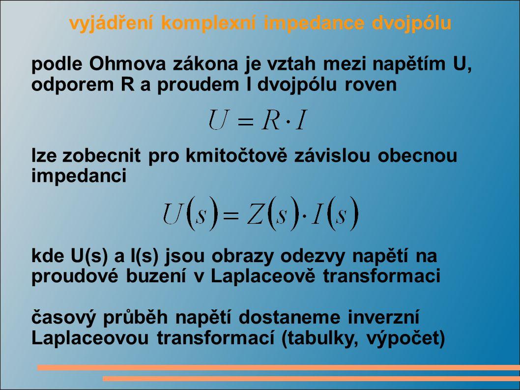 vyjádření komplexní impedance pomocí fázorů napětí a proud můžeme vyjádřit fázory podle Ohmova zákona bude impedance modul a fázový posuv je dán impedancí