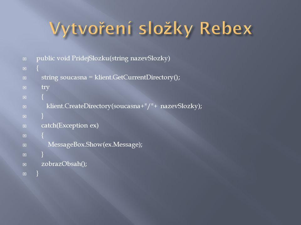  Byly vytvořeny ukázkové okomentované aplikace  Ucelený průvodce síťovým programováním v jazyce C#  Funkční ukázky kódů s podrobným popisem a s vysvětlenou související problematikou  Předvedení doplňujícího balíku Rebex pro práci s aplikačními protokoly