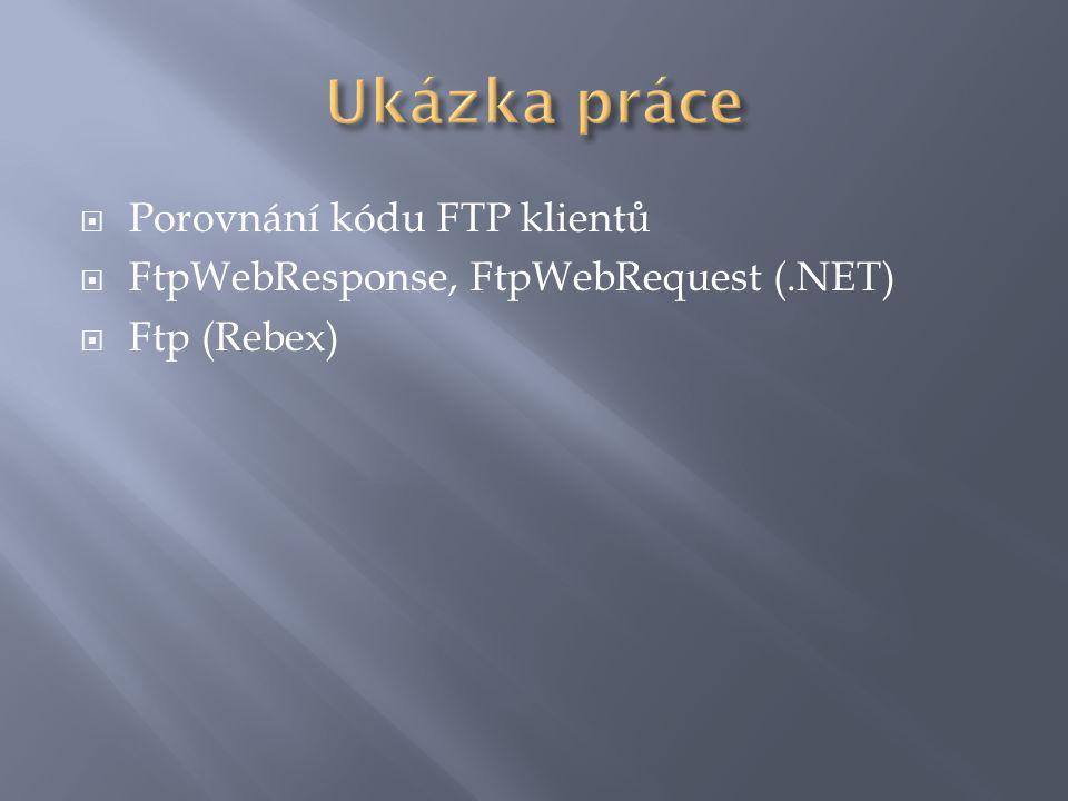  private void Nahraj(object obj)  {  string nazev = (string)obj;  FileInfo info = new FileInfo(nazev);  try  {  FtpWebRequest pozadavek = (FtpWebRequest)FtpWebRequest.Create(adresa + / + info.Name);  pozadavek.Credentials = new NetworkCredential(uzivatel.Text, heslo.Text);  pozadavek.Method = WebRequestMethods.Ftp.UploadFile;  FileStream stream = File.OpenRead(nazev);  Stream streamServeru = pozadavek.GetRequestStream();  byte[] buffer = new byte[1024];  int precteno = 1;  while (precteno > 0)  {  precteno = stream.Read(buffer, 0, buffer.Length);  streamServeru.Write(buffer, 0, buffer.Length);  }  stream.Close();  streamServeru.Close();  }  catch (Exception ex)  {  MessageBox.Show(ex.Message);  }  ZobrazObsah();  }