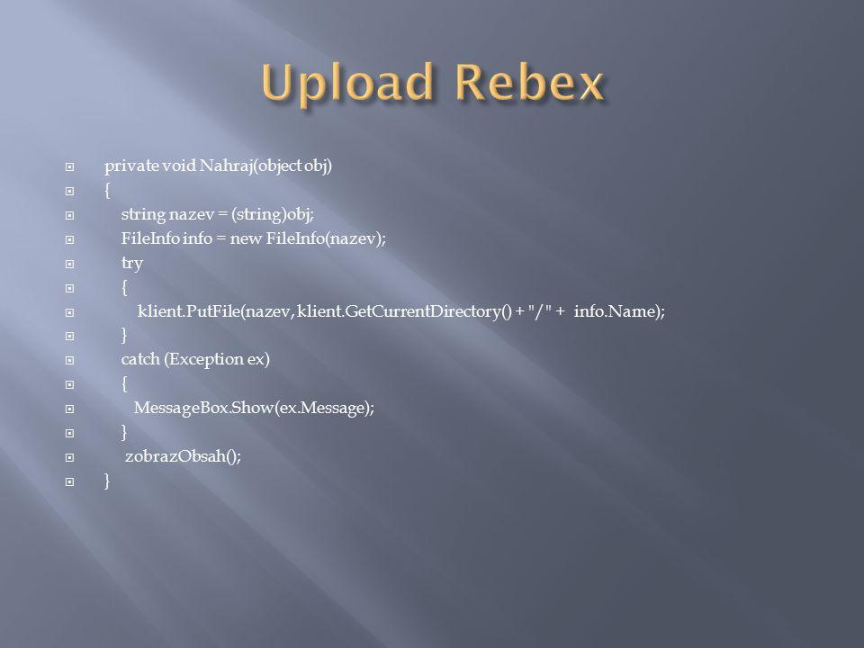  public void vytvorSlozku(String nazev)  {  try  {  FtpWebRequest pozadavek = (FtpWebRequest)FtpWebRequest.Create(adresa +  / + nazev);  pozadavek.Credentials = new NetworkCredential(uzivatel.Text, heslo.Text);  pozadavek.Method = WebRequestMethods.Ftp.MakeDirectory;  FtpWebResponse resp = (FtpWebResponse)pozadavek.GetResponse();  }  catch (Exception ex)  {  MessageBox.Show(ex.Message);  }  ZobrazObsah();  }
