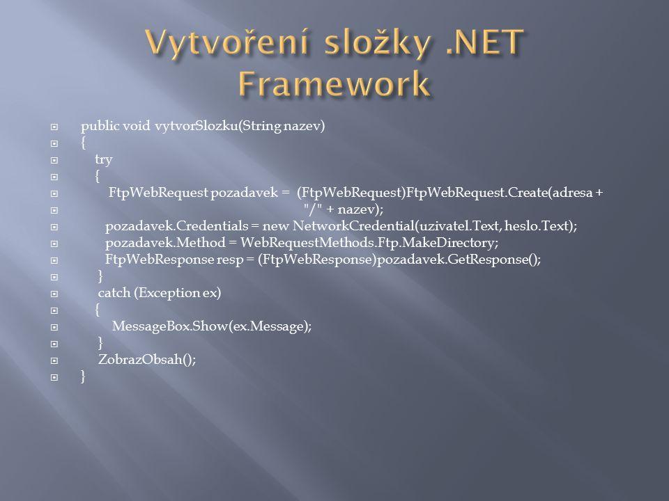  public void PridejSlozku(string nazevSlozky)  {  string soucasna = klient.GetCurrentDirectory();  try  {  klient.CreateDirectory(soucasna+ / + nazevSlozky);  }  catch(Exception ex)  {  MessageBox.Show(ex.Message);  }  zobrazObsah();  }